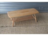 Vintage Mid Century Blonde Refurbished Ercol Model 459 Rectangular Coffee Table with Magazine Rack