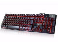 Mechanical Feel 3 Color LED Backlit (Red/Purple/Blue) Ultra Gaming Keyboard -New