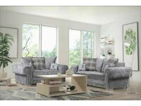 💯BEST SALES VERONA GREY FABRIC CORNER SOFA SUITE / 3+2 SEATER SETTEE AVAILABLE FOR DELIVERY