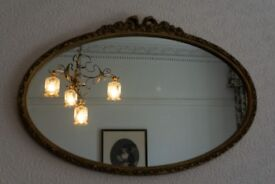 REDUCED-Vintage Antique Mirror oval guilded