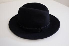 New black felt hat hand made in Europe