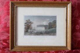 Antique Colour Etching of Weald Hall, Essex in antique maple frame