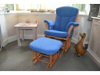 John Lewis Wooden Rocking Chair and Rocking Stool with Blue Washable Covers in Excellent Condition
