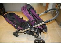 Baby jogger city select purple and black double pushchair system, new condition!