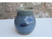 Vintage Handmade Blue Vase Painted With a Shoal of Fish Design Studio Pottery Nautical Maritime