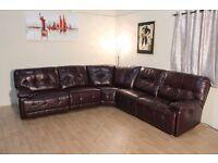 Ex-display Max burgundy leather electric recliner corner sofa