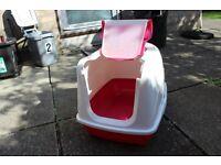 Large hooded cat litter box