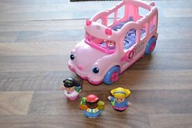 Fisher Price pink school bus - interactive with little people
