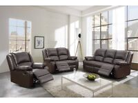 Stunning Leather Tone 3 and 2 Seater - Recliner Set - Crazy Price at £575 for both