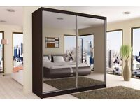 BRAND NEW 120,150,180,203CM BERLIN FULL MIRROR SLIDING DOORS WARDROBE IN DIFFERENT COLORS AND SIZE