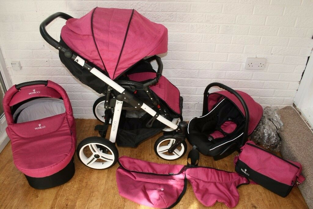 Venicci baby pram with car seat travel system 3 in 1 - pink CAN POST