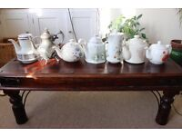Vintage style teapots and plates plus cafetiers and drinks dispensers