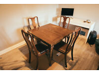 (Hardwood) Dining Table + 4 Chairs