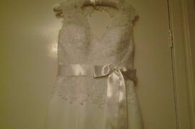 Vintage lace at top wedding dress size 10
