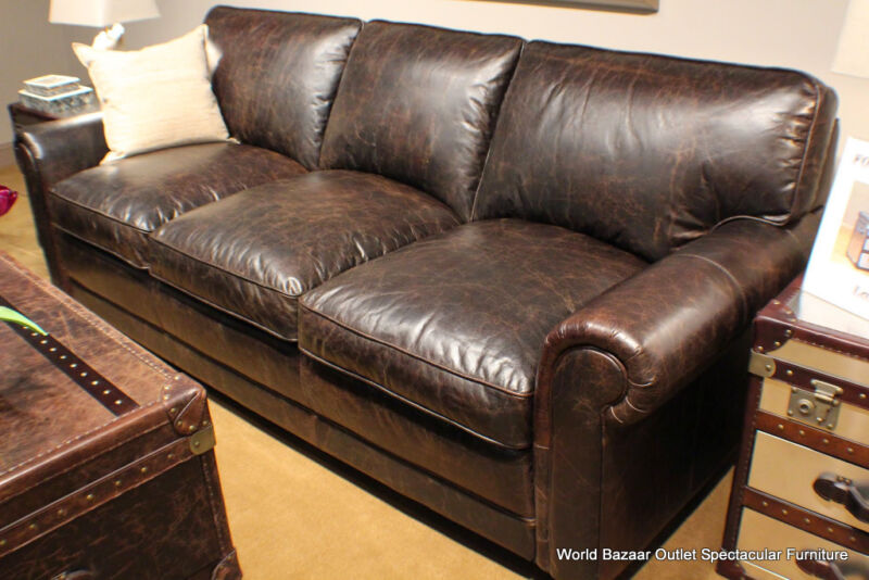 "91"" Long Sofa Top Grain Distressed Vintage Leather Dark Brown Premium Quality"