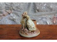 Unusual Vintage Studio Pottery Handmade Candle Holder Pair of Ducks Signed Underneath