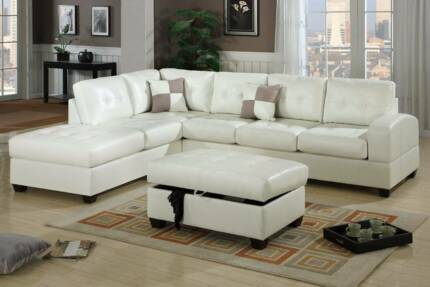 * New white black brown LEATHER Sofa Lounge Couch * Brisbane City Brisbane North West Preview