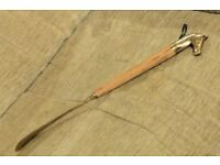 Long Handled Brass Shoe Horn With Wood and Brass Horse's Head Handle,Total Length 17 inches, Histon