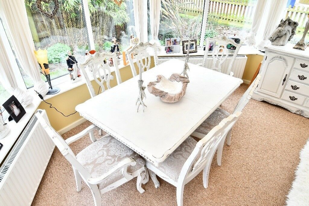 French Style Shabby Chic Dining Table And Chairs With Matching Magnificent Shabby Chic Dining Room Furniture For Sale Style