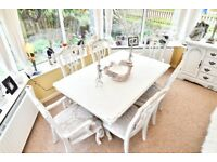 French style shabby chic dining table and chairs with matching sideboard. Price reduction!
