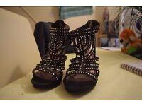 Black Diamante Heels - Size 6