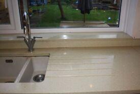 Quartz worktops, splash back and upstands
