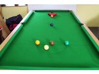 ANTIQUE RILEY SNOOKER TABLE WITH DINING TABLE TOP