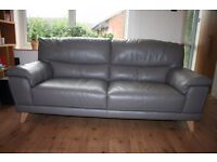 Real leather three seats sofa with armchair colour grey and Free Delivery only £330