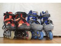 2 Pairs of roller skates - one size 3-6 and the other 12J-2