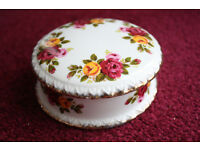 """ Cottage Rose "" fine bone china trinket bowl with lid."