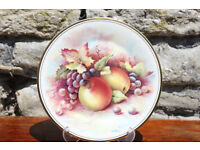 Vintage Decorative Display Plate Royal Vale - Fruit Design Grape Apple Cabinet Plate Art