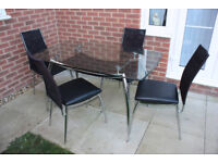 Modern Dining Glass Table Set with 4 Chairs Chromed Crystal Legs