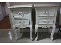Pair of shabby chic white bedside cabinets tables