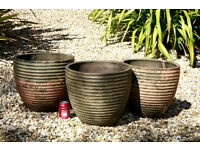 3 Large Weathered Terracotta Planters Pots
