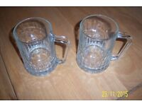 TWO TUDOR DEMA ENGLAND GLASS BEER MUGS