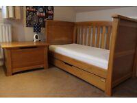 Mamas & Papas Ocean Golden Oak Cot Bed & Cot Top Changer