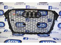 AUDI A4 B8.5 RS4 FRONT GRILL GLOSS BLACK 2013 - 2015 APROX FITTING FITS B8.5 MODELS