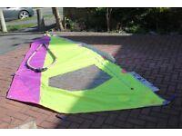 1990's HyLine Ventura Fun 5.7 used windsurfing sail & boom