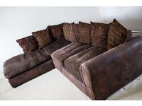 Brown Fabric Corner Sofa *PORTISHEAD*