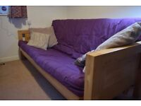 Solid Wood Frame Futon Sofa Bed - Great condition, comfortable solution for guests!