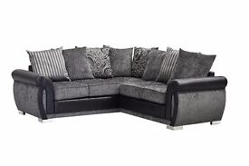 FREE DELIVERY **NEW PRODUCT DESIGN **HELIX CORNER SOFA IN TWO SHADES ON CHENILLE FABRIC