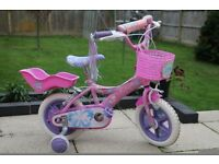 childs bike pink suit 2 years to 5 years plus shopping bags and bell