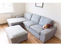Three-seat corner sofa and footstool (left hand)
