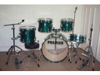 Premier XPK Emerald Green Lacquered 5 Piece Full Drum Kit complete with Paiste 302 cymbal set