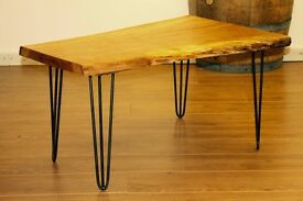 Solid Oak Live Edge Coffee Table With Hairpin Legs