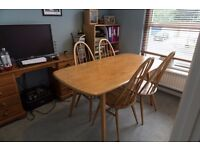 1960's Ercol dining table with 4 chairs