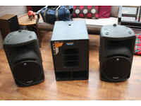 Complete Makie sound system. 450w cabinets and 600x sub base with all cables