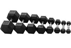 1kg - 50kg Rubber Hex Dumbbell Set - Weights Gym - 1110kg