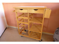 Kitchen Trolley Cart, Solid Wood, Shelves, Wine Racks, Drawers, Tiled Table Top, Storage Unit