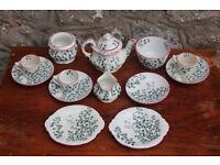 Antique 13 Piece Vintage Victorian Childs Ceramic Teaset C. 1881 Ridgway Pottery Maiden Hair Fern